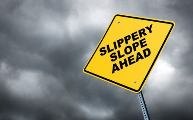 Slippery slope warning sign